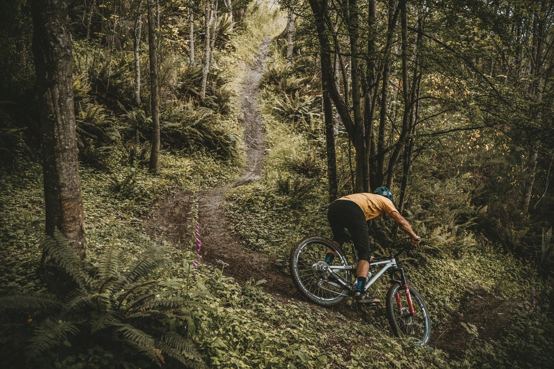 Mountain biker riding on Goodyear tires