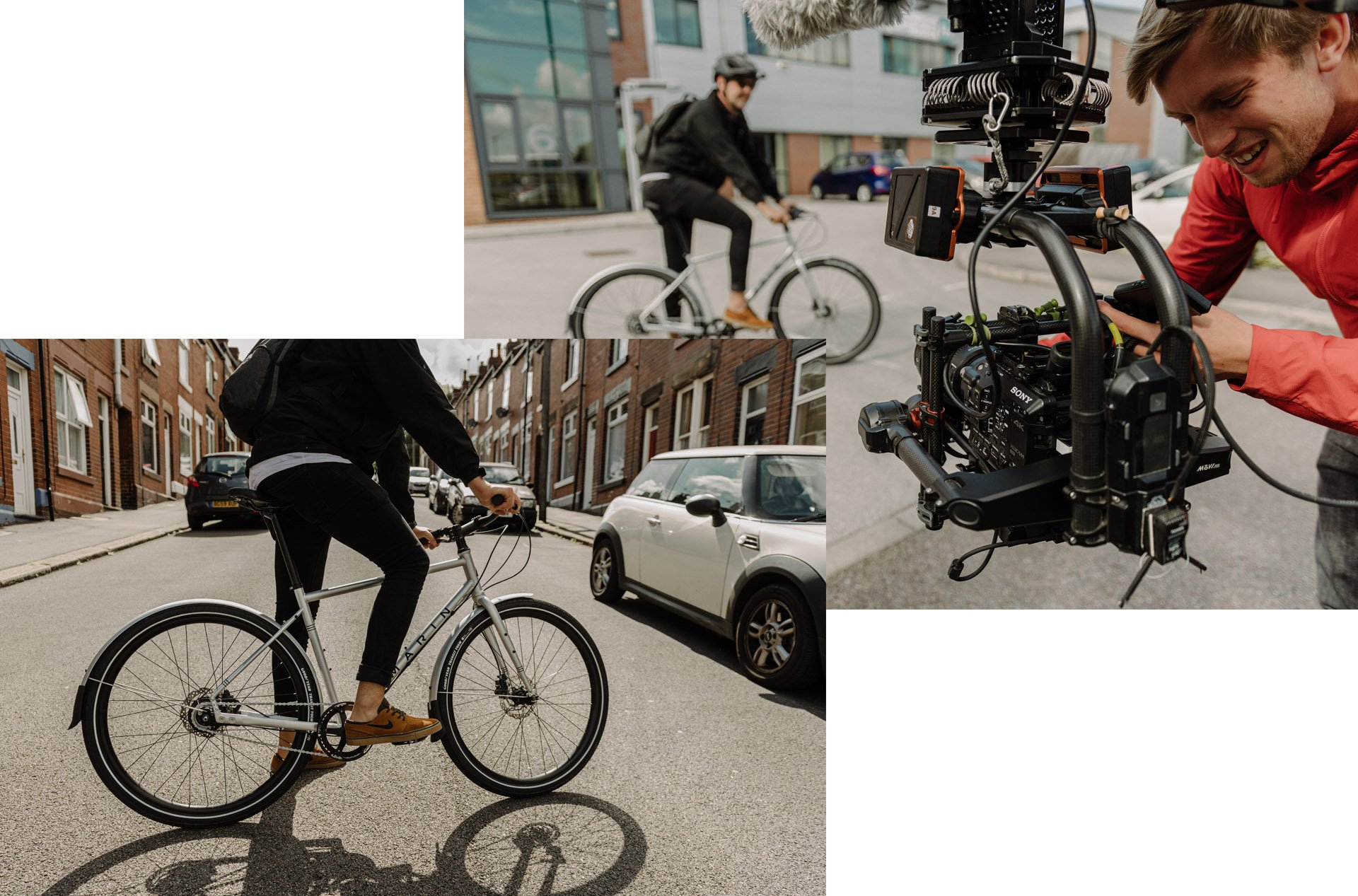 Photo filming for bike tire photoshoot