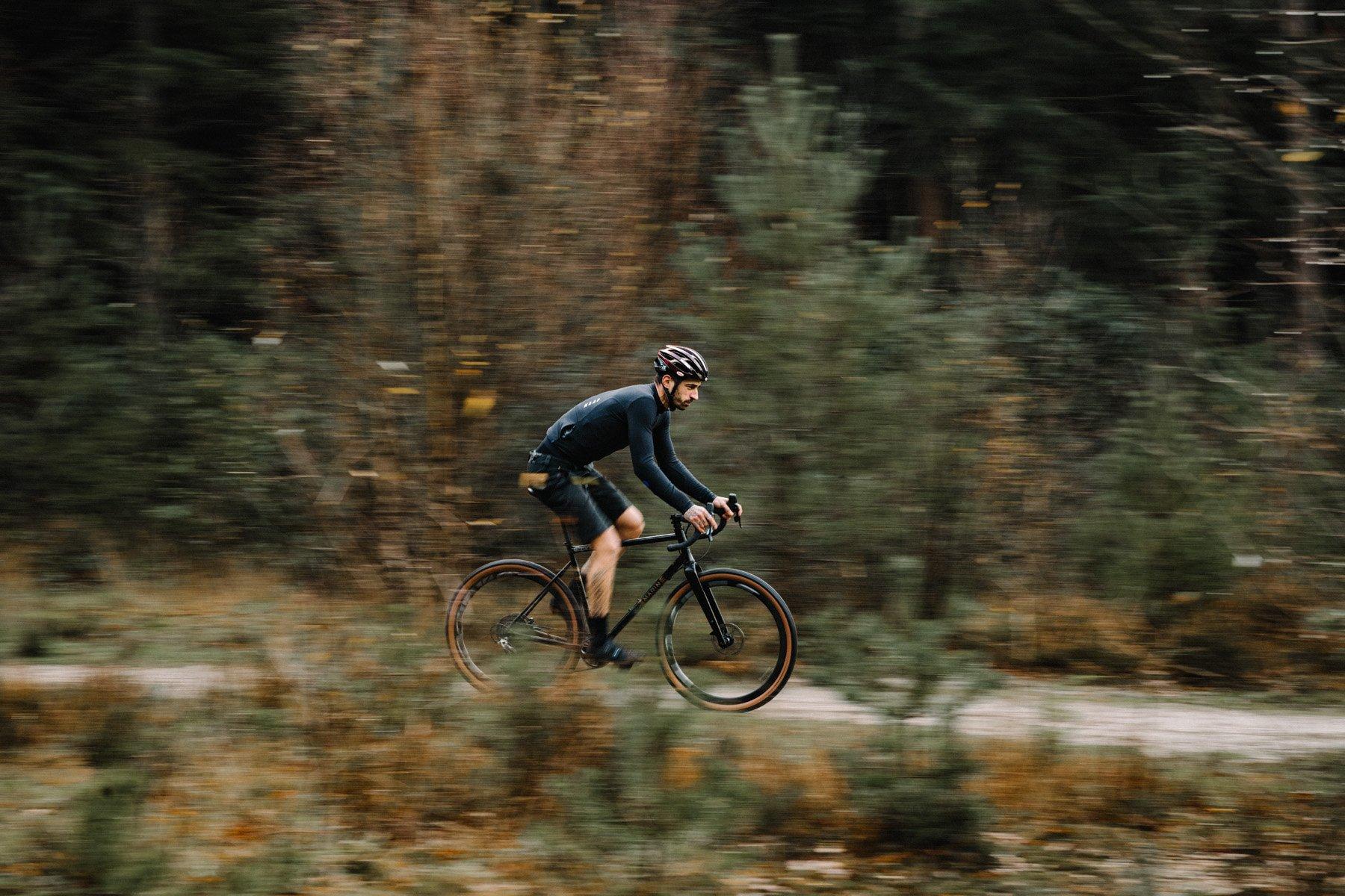 Professional gravel cyclist riding Goodyear bike tires