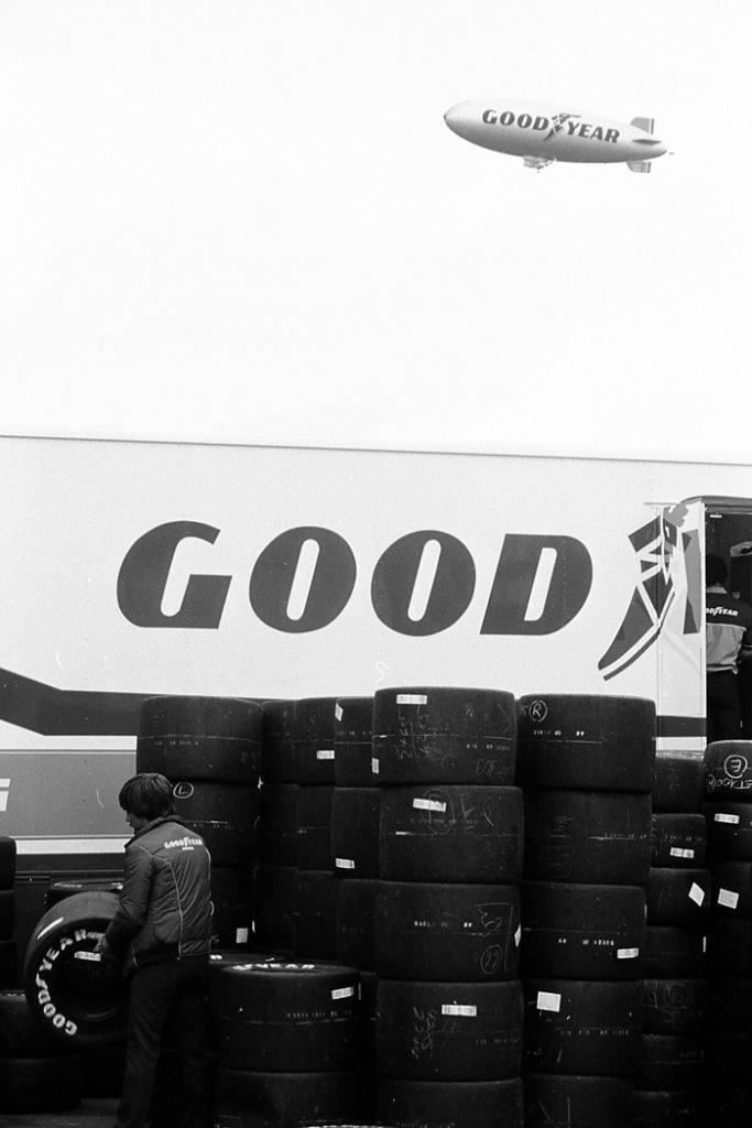 Black & White Photo of The Goodyear Blimp